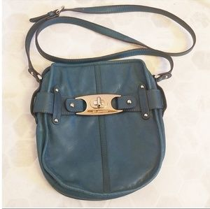 B.MAKOWSKY Teal leather crossbody bag
